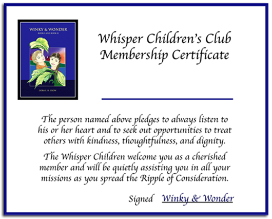 Image of Whisper Children's Club Certificate with link to download the PDF.